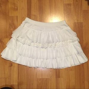 White Frilly Layered Miniskirt